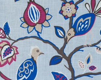 Blue Pink Linen Drapery Upholstery Fabric - Blue Bird Curtain Fabric - Fuchsia Pink Pillow Covers - Fabric with Birds - Blue Linen Bedding