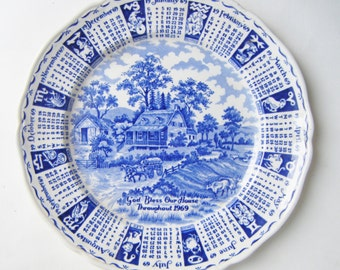 """Alfred Meakin Staffordshire England 1969 Calendar Plate Hand Engraved Reads """"God Bless Our House Throughout 1969"""""""