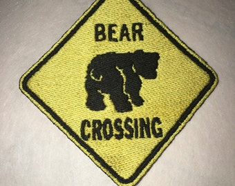 Iron On Patch Bear Crossing Street Sign