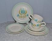 Franciscan Earthenware Tulip Time Dinnerware Set of 9 ~ Turquoise Dinnerware ~ Retro Flower ~ Epsteam