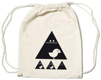 "Organic Gym Bag Natural ""Achtung Birdy"" Black"