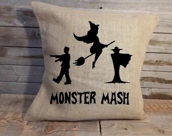 "Monster Mash 18"" burlap pillow cover"