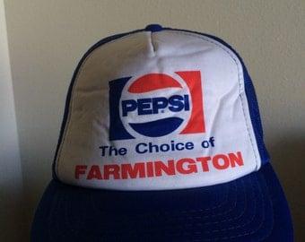 Vintage Mesh Back Pepsi Trucker Hat Choice of Farmington