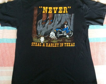 Vintage Never Steal a Harley in Texas Deadman T-Shirt