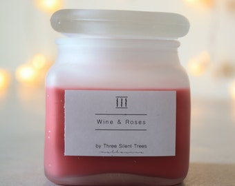 Three Silent Trees | Wine & roses soy candle | frosted square jar