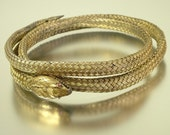 Vintage antique, estate jewelry, Victorian 1800s, snake serpent, woven bangle - jewelry jewellery - 19th century