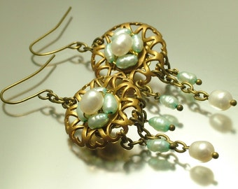Vintage/ estate 1990s Victorian style reproduction, pale blue and white freshwater pearl drop earrings - jewelry / jewellery