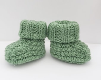 knitted baby booties, green knitted baby shoes, baby boots
