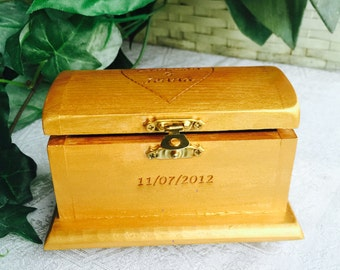 Personalized Wood Etched Treasure Chest for Ring Bearer or Jewelry Box, Makes great anniversary, wedding or bridal shower gift or favors.