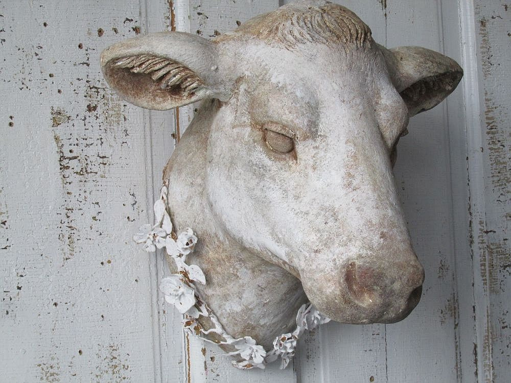 French Cow Head Wall Mount Faux Hand Painted Rustic Farmhouse