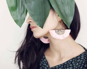 SALES -30% / Pink fan earrings for women in leather and fabric / Statement earrings for women