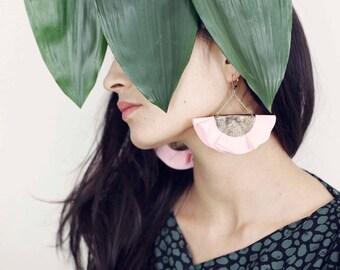 SALE / Pink fan earrings for women in leather and fabric / Statement earrings for women