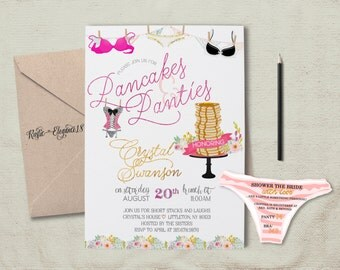 Pancakes and Panties/5x7 Inches-Lingerie Shower Invite/Bachelorette Invite