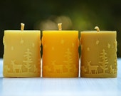 Pure Beeswax Candles - Christmas Candle - Beeswax pillar candle - Natural beeswax candles - Woodland theme Christmas candle Australia