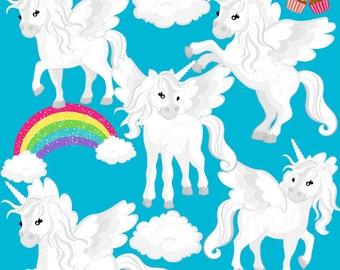 White Unicorns 2 Clipart Set