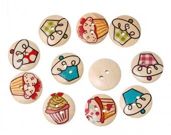 Cupcake Round Wood Button 20mm