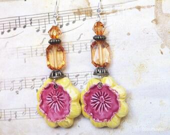 Ceramic Flower earrings, Clear Rhinestone earrings, evening jewelry, party jewelry, spring flower, garden party