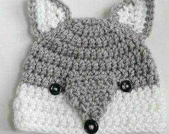 wolf hat woodlands animal handmade crochet knit hat beanie
