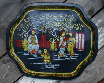 Vintage Asian tin tray with Geisha and little boy running with a bowl of food in Garden Marked Made In China Free USA Shipping
