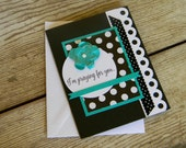 Handmade sympathy greeting card praying for you so sorry for your loss black white and teal with flower and polka dots-   FREE SHIPPING
