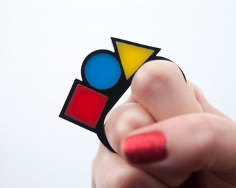 Bauhaus Double Ring. Yellow Red and Blue Dangly Ring. Contemporary Art Two Finger Ring. Square Circle Triangle Art Triangle Ring Abstract