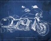KAWASAKI VULCAN 1700 VAQUERO Blueprint, Art Print 8x12in to 60x41in, Motorcycle Art print