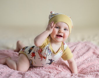 organic baby clothes, baby onesie, bodysuit & hat set, wild horses, organic baby onesie, onesie, baby bodysuit, baby clothes, baby onesie