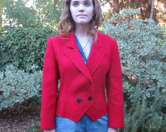 Vintage Louis Feraud Red Wool Jacket/Blazer, Size 6, UK 10, Circa late 1980s, Designer