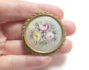 Antique Hand Painted Porcelain Roses Pin/Brooch, Brass Frame with C Clasp