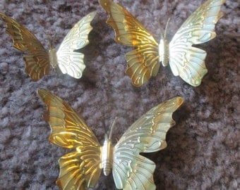 Sweet little Mini Brass Butterflies ( 3) and Bonus Ceramic Blue Butterfly