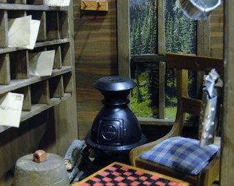 Diorama Antique Country Store Miniature Food, Checkers, Cash Register