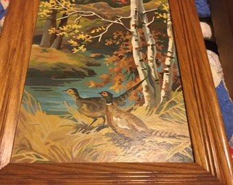 Vintage paint by number pheasants in the fall framed picture amazing