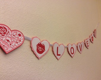 Valentines banner, love, valentines day, decoration, hearts, kiss, lips, flowers, love banner, love sign, lover, boyfriend, girlfriend