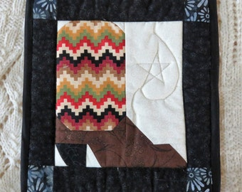Hot pad or place mat, hand made with thinsulate lining material