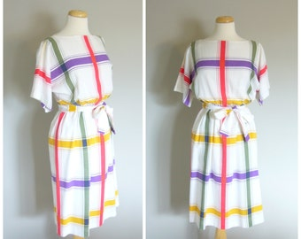 Vintage SUMMER PLAID DRESS/Midi Dress/size Small-Medium