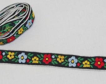 Vintage Trim / Ribbon: 1970s Woven Black Red Yellow Blue Flower & Leaf