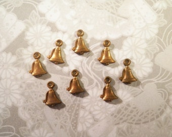8 Vintage Brass 10mm  Bell Charms Stampings