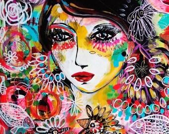 Portrait Woman Original Painting Art Canvas Home Decor - Nature Woman Birds Fish - Portrait Wall Art - Portrait Fine Art - Contemporary Art