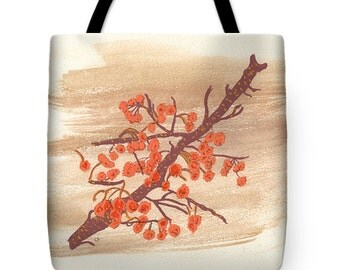 Gift Idea Orange Autumn Berries on Branch Tote Purse Bag