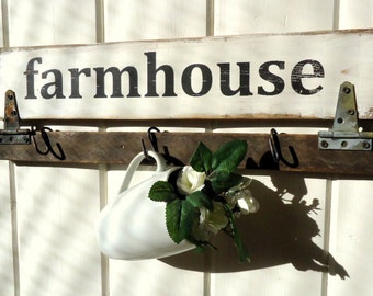 Country Rustic Vintage Aged Farmhouse Farmhouse Sign with hooks