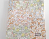 Minky Baby Patchwork Blanket Quilt Woodland Animals Frogs Turtles Deer Owls Foxes Gender Neutral--Ready to Ship