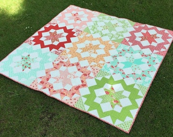 PDF Pattern for Blush Queen Patchwork Quilt. Classic Modern Handmade Quilt from Fat Quarters and scraps. Perfect Bed/Throw size
