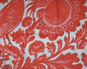 SCALAMANDRE RESIST Chinoiserie Birds Toile Linen Fabric 10 yards TANGERINE Multi