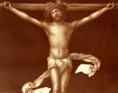1895 Antique print of an ALBRECHT DÜRER paint: Crucifixion. 121 years old nice lithograph.