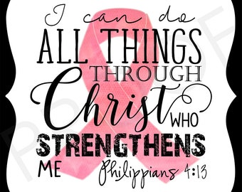 Ornate Magnet - Philippians 4:13 ~ 5x5 Breast Cancer Awareness