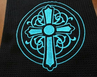Turquoise Cross Cup Towel