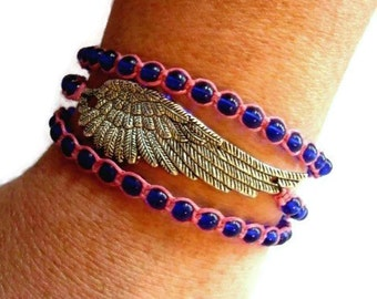 Blue Beaded Angel Wing Wrap Bracelet