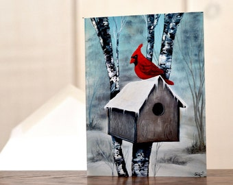Cardinal Christmas card, cardinal holiday card set, winter birdhouse notecard, bird lover notecard, personal stationery set, hostess gift