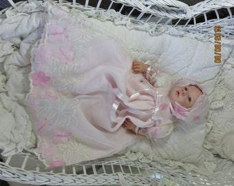 Embroidered Organza & Crepe Gown Set for 18-20 Inch Reborn Baby Silicone Art Doll CLOTHING ONLY!