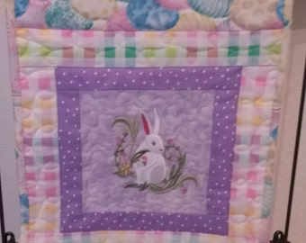 Easter table runner/Happy Easter/Quilted embroidered wall hanging/Easter table topper